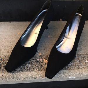 Black cloth shoes by Stewart Weitzman. Worn once.
